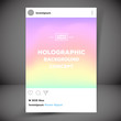 Holographic retro photo frame template with typography. Social network post .