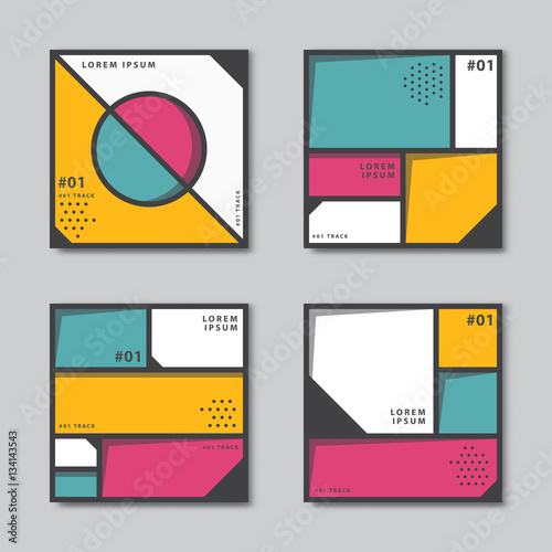 Photo  Set of abstract backgrounds in neoplasticism style