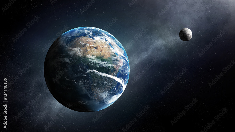 Fotografie, Obraz Earth and moon space view