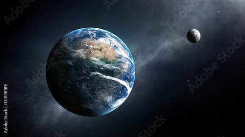 Earth and moon space view Fototapet