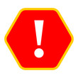 Red hexagon exclamation mark icon warning sign attention button