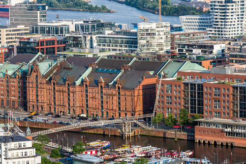 Photo  Overlook to the old town part of Hamburg, Germany