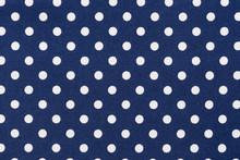 Navy Blue White Polka Dots Fabric.