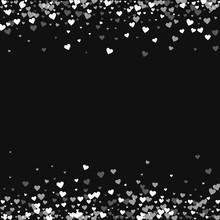 White Hearts Confetti. Borders On Black Valentine Background. Vector Illustration.