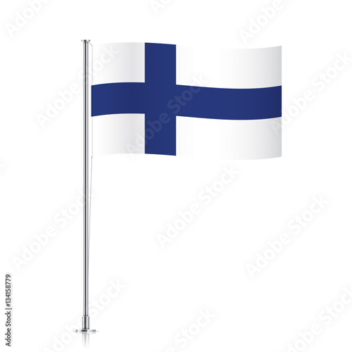 Flag Template | Finnish Vector Flag Template Waving Flag Of Finland On A Metallic