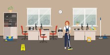 """Cleaning In The Office Room. Cleaning Woman Standing With A Mop On The Windows Background. There Is Also A """"Caution! Wet Floor"""" Sign, A Broom, A Scoop In The Picture. Vector Flat  Illustration"""