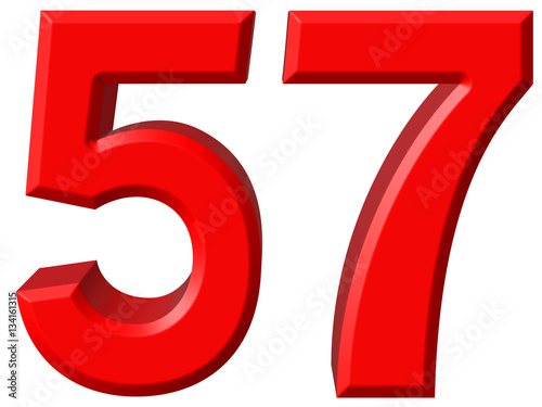 Fotografie, Obraz  Numeral 57, fifty seven, isolated on white background, 3d render