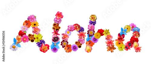Flower Word Aloha Canvas Print