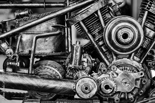Old motorcycle engine block, Black and Whit tone, monochrome. selective focus.