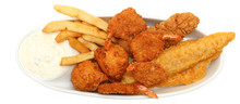 Deep Fried Shrimp, Fish And Ch...