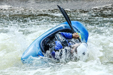 Kayak On Whitewater. Focus On ...