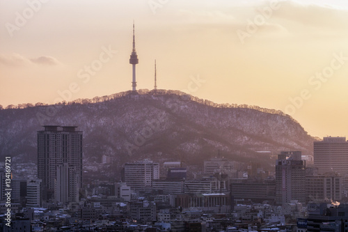 sunset view over namsan tower