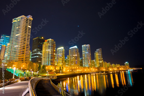 Skyline of the city of Vancouver in Canada at night. Poster