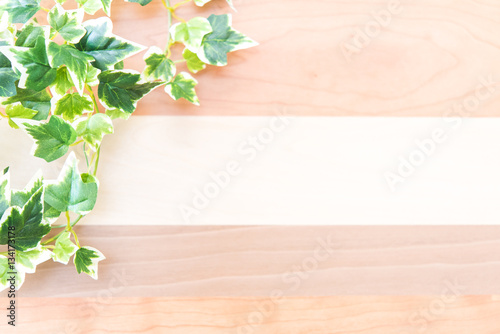 Foto op Plexiglas koffiebar 植物と木目