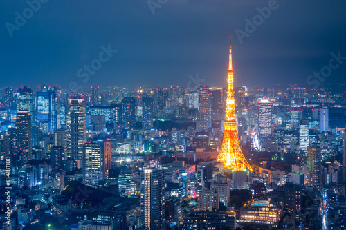Aerial view over Tokyo tower and Tokyo cityscape view from Roppongi Hills at nig Wallpaper Mural