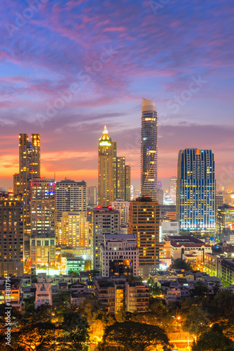 Aerial view over Bangkok modern office building in bangkok business zone with su Wallpaper Mural