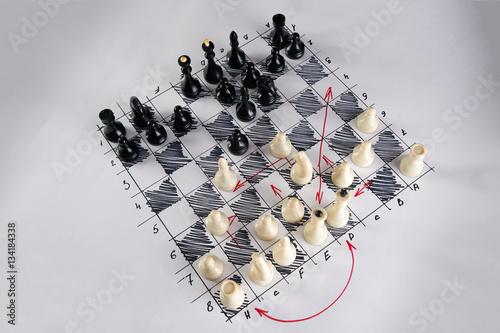 Fototapeta White strategy board with chess figures on it. Plan of battle obraz
