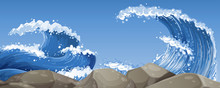Big Waves Over The Rocks