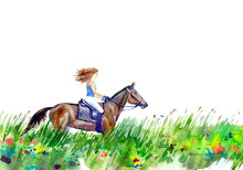 Girl Riding A Horse On The Field.Summer Landscape.Watercolor Hand Drawn Illustration.White Background.