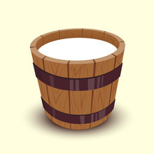 Milk In Wooden Bucket Vector I...