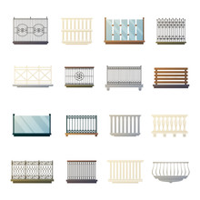 Balcony Railings Design Flat Icons Collection