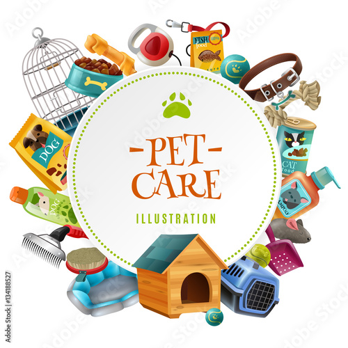 Pet Care  Accessories Round Frame Illustration Poster
