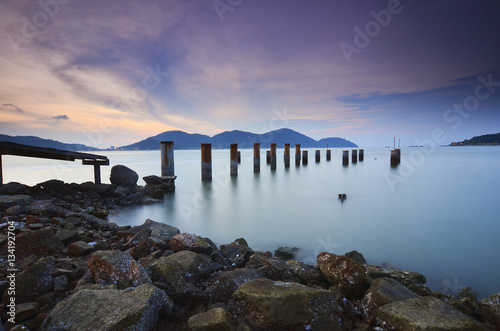 Foto auf Acrylglas Tropical strand Beautiful sunset view with wooden jetty at Marina Island, Lumut