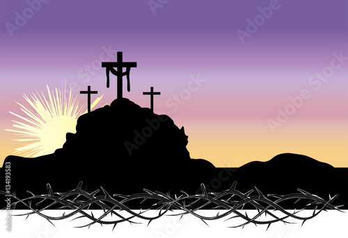 Easter morning, Calvary hill with silhouettes of the cross, Resurrection illustr Canvas
