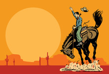 Drawing Of A Cowboy Riding A Wild Horse At Sunset, Vector