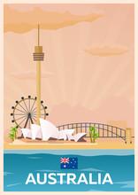 Travel Poster To Australia. Vector Flat Illustration.