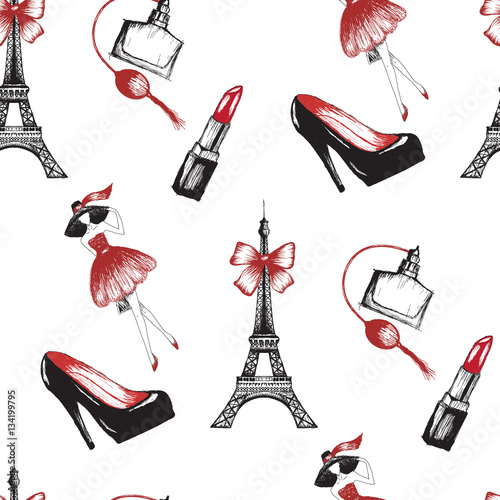 Cotton fabric French style seamless pattern vector illustration