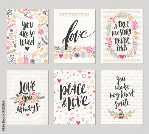 Vector set of valentine s day hand drawn posters or