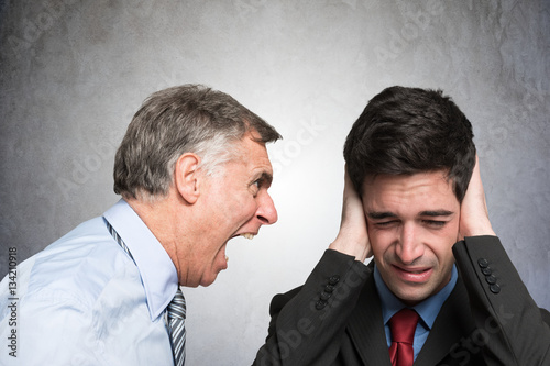 Fotografie, Obraz  Angry businessman shouting to an employee