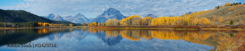 Garden Poster Blue jeans Autumn landscape in Yellowstone, Wyoming, USA