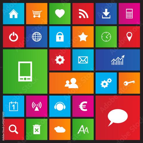 Fotomural Set of web navigation icons in metro style, flat design