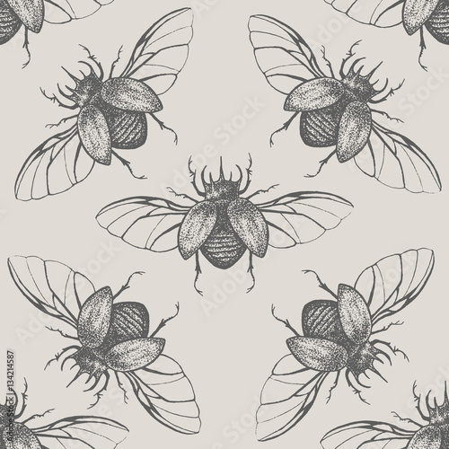 Cotton fabric Beetles with wings vintage seamless pattern