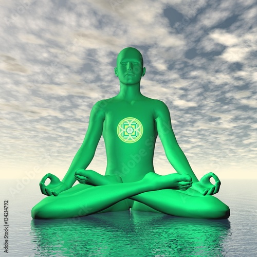 Green anahata or heart chakra meditation - 3D render Canvas Print