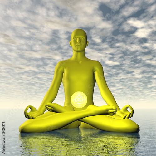 Photo  Yellow manipura or solar plexus-navel chakra meditation - 3D render