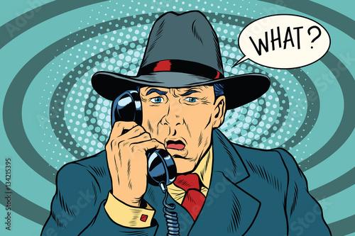 Obraz na płótnie What Surprised retro businessman talking on the phone