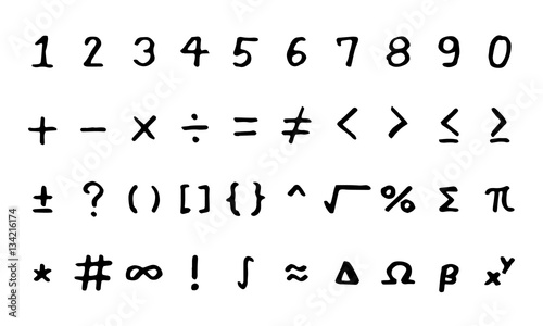 Photo Set of black hand drawing mathmetical sign on white background