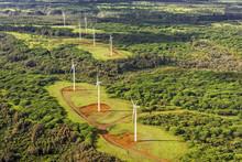 Wind Farm On The Island Of Oahu