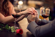 canvas print picture - Romance at restaurant for Valentine's Day-concept