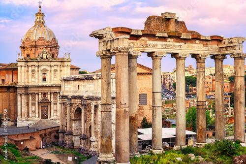 Zdjęcie XXL Romański forum przy zmierzchem, Rzym, Włochy