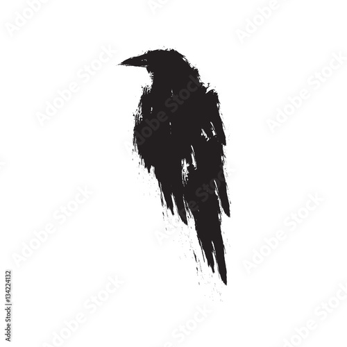 Canvas Print Black raven on a white background.