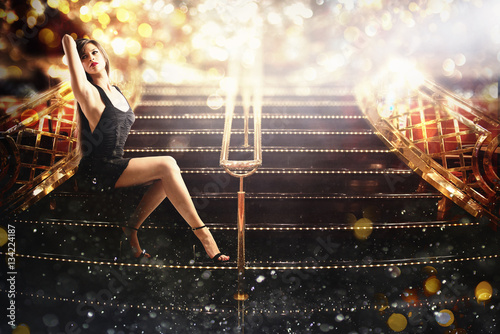 Fotografie, Obraz  Sexy woman on the elegant staircase
