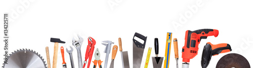 Fotografia  Set of hand tools isolated on white background, banner