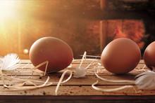 Freshly Picked Eggs On Table W...