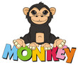 animal, cartoon, illustration, primate, monkey, chimpanzee, zoo, black, beige, sit, letters, word, colored