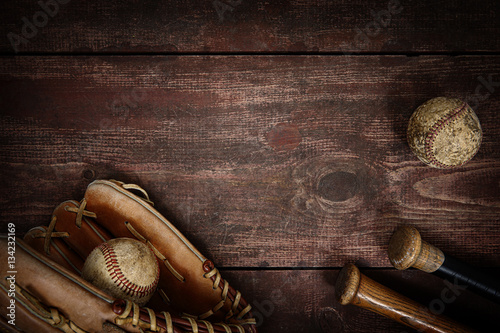 Tuinposter Retro Old Vintage Baseball Background. Shallow focus
