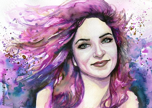 Papiers peints Inspiration painterly Watercolor portrait of a woman.